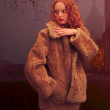 Huge shearling fur coat / vintage natural chubby fur lamb fluffy Russian princess duffle / reversible penny lane