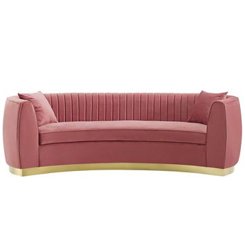 Enthusiastic Vertical Channel Tufted Curved Performance Velvet Sofa