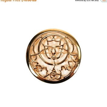 ON SALE Mary McFadden Statement Brooch, Circle, Medallion, Gold Tone, Designer, Vintage Jewelry
