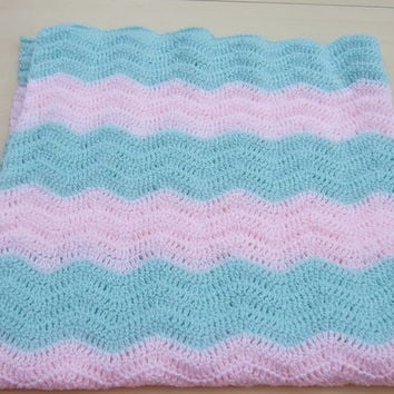 Hand crochet baby ripple blanket or afghan in sparkly green and pink