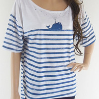 Whale Fish Sea Ocean Animal Style Front Short Than Blue Striped White T-Shirt Crop Top Tee Shirt Screen Print Size L