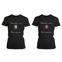 Sweet like macaron and Sweeter than macaron Best Friends T-Shirts BFF Cute Matching Tees