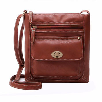 2017 Small Casual Women PU Leather Messenger Bags Hobo Tote Vintage Female Handbag and Purse Famous Designer Crossbody Bag