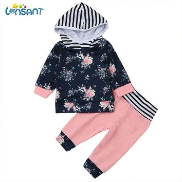 LONSANT 2Pcs Newborn Infant Baby Boy Girl Floral Long Sleeve Hoodie Tops+Pants Outfits Casual Clothes 1Set