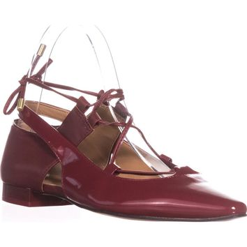 Calvin Klein Evalyn Lace Up Mary Jane Flats, Garnet, 5.5 US / 35.5 EU
