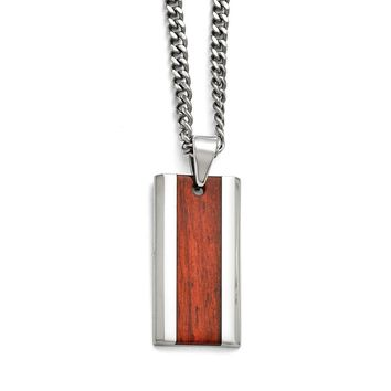 Men's Stainless Steel Polished Red Wood Inlay Enameled Necklace