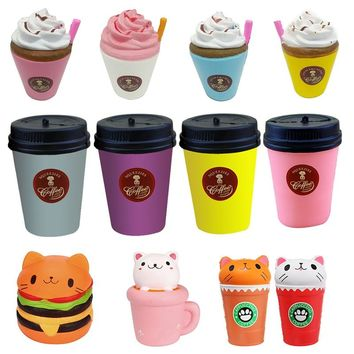Burger cat Milk Coffee Cup Squishy Slow Rising Jumbo Phone Strap Pendant Cream Scented Bread Cake Xmas Gift Fun Kid Toy dropship