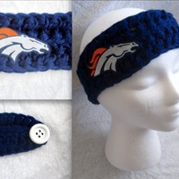 Crochet Denver Broncos Blue, Orange, or Multicolor Headband Ear warmer with BRONCO logo (skinny)