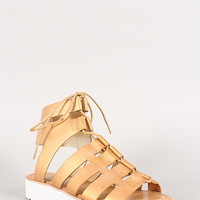 Bamboo Metallic Cutout Lace Up Gladiator Flatform Sandal