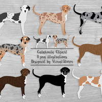 Catahoula Dog Clipart Louisiana Catahoula Leopard Dogs Illustrations Herding Dog Breeds Merle Brindle Black Patchwork Pet Scrapbook Graphics