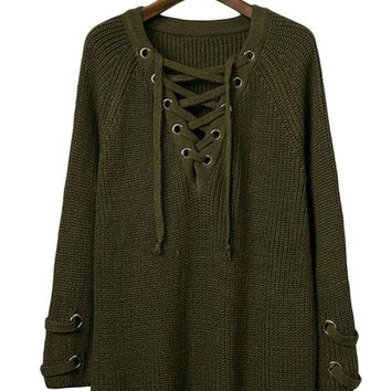 Army Green Crisscross Knitted Long Sweater