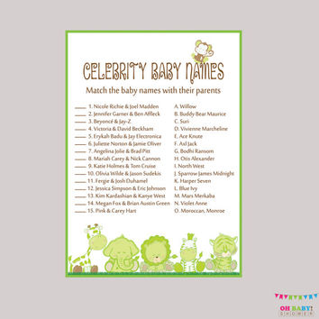 Celebrity Baby Shower Game Printable - Gender Neutral Safari Celebrity Baby Name Match - Instant Download  Safari Baby Shower Game  BS0001-G