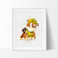 Rubble, Paw Patrol Watercolor Art Print