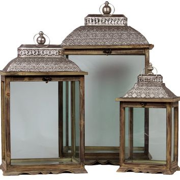 Wooden & Metal Lantern Set Of Three W/ Large Glass Panes & Persian Style Lid Brown