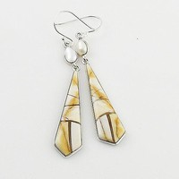 Pearl & Brecciated Mooakite Sterling Silver Earrings