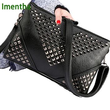 High Quality BLACK WOMEN LEATHER HANDBAGS Rivet stud crossbody bags female women messenger bags purses and handbags shoulder bag