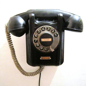 Soviet Vintage Rotary Wall Phone of railway station dispatcher , USSR 1960s Working condition- First phone of Perm Plant
