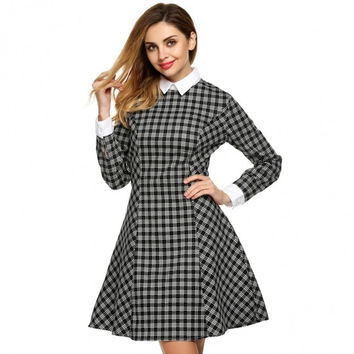 Women Fashion Casual Doll Collar Long Sleeve Plaid Patchwork Dress