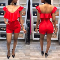 Sexy Backless Rompers V-Neck Red