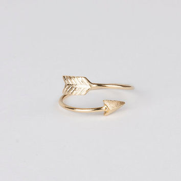 Adjustable arrow ring gold silver plated fashion ring stackable ring simple wrap ring gift for her bridesmaid gift birthday gift