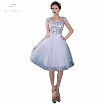 LANSITINA Sexy Luxury Silver Sequin Prom Dress Knee-Length Evening Dress Gown Party Celebrity Floor length Formal Dresses