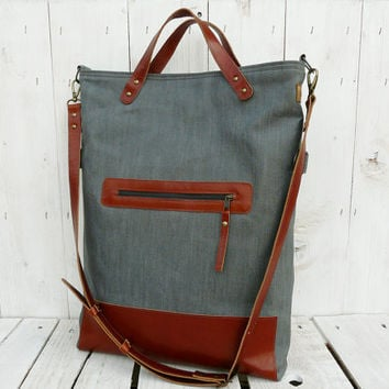 grey tote bag leather canvas foldover crossbody modern everyday bag rust brown / gray 2 tone tote