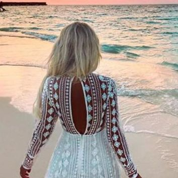 Casual White Patchwork Lace Cut Out Las Vegas Long Sleeve Beach Party Mini Dress