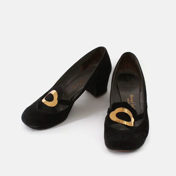 Vintage 40s SHOES / 1940s Rare Low Heel Gold Buckle Detail Black Suede Leather SHOES 7.5 - 8
