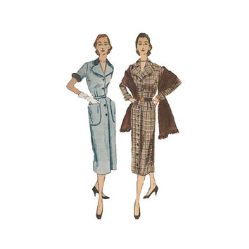 1950s Shirtwaist Wiggle Dress Pattern Simplicity 3636 Wide Collar Patch Pockets & Fringed Stole Wrap Size 14 Bust 32 Vintage Sewing Pattern