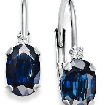 10k White Gold Earrings, Sapphire (1-1/4 ct. t.w.) and Diamond Accent Leverback Earrings
