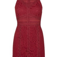 PETITE Strappy Lace Bodycon Dress - Berry Red