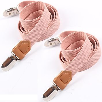 Elastic Clip-on Braces Men 4 Clips Suspenders For Pants Trousers Adult PU Leather Buckle Suspenders Elastic Belt