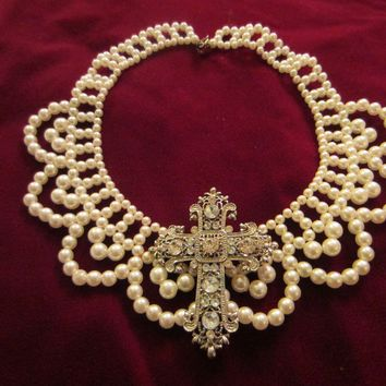 Folk Art White Pearls Beaded Bib Necklace Mid Century Added Statement