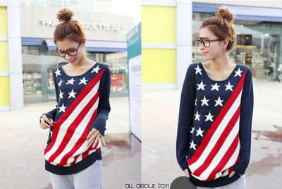 WOMENS AMERICAN FLAG STARS AND STRIPES USA FLAG SWEATER Tops NWT
