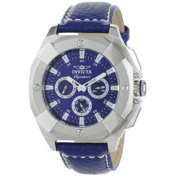Invicta 7290 Men's Signature II Blue Dial Blue Leather Strap Multifunction Watch