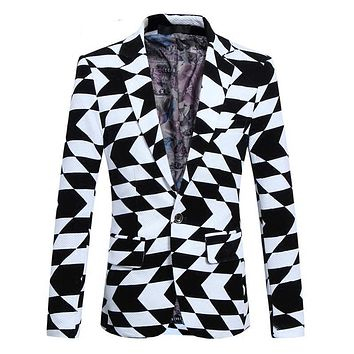 Fit Geometric Print Pattern Slim Men Blazer