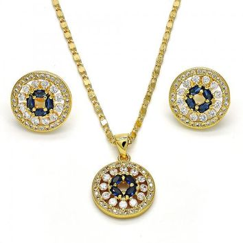 Gold Layered 10.156.0076 Necklace and Earring, with Tanzanite Cubic Zirconia and White Micro Pave, Polished Finish, Golden Tone