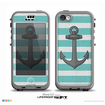 The Teal Stripes with Gray Nautical Anchor Skin for the iPhone 5c nüüd LifeProof Case
