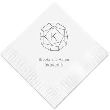 Gemstone Initial Printed Paper Napkins (Sets of 80-100)