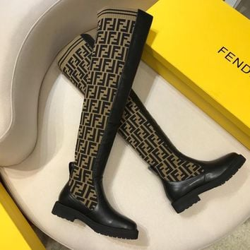 Fendi Logo-jacquard Stretch-knit And Leather Long Boots #872