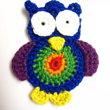 Crochet Owl Applique - Rainbow Owl Applique