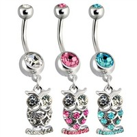 Dangling Steel Owl Navel Ring with Paved CZs