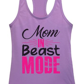 Womens Mom In Beast Mode Grapahic Design Fitted Tank Top