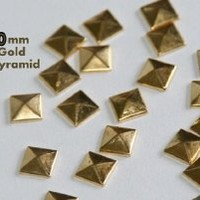 100pc Hotfix Iron On, 10mm Gold Flat Back Pyramid Studs - Flatback Glue On Studs