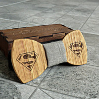 Superman Bow Tie Groomsmen gift Star Wars gift Valentines gifts for him Wedding Gifts for Mens Wooden Bow Tie Boyfriend gift Fathers day