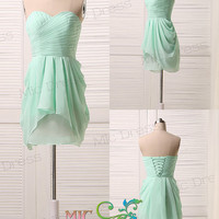 Sweetheart Floor-length chiffon with crystal beads green/chiffon/short prom/Evening/Party/Homeco­ming/cocktail /Bridesmaid/Formal Dress