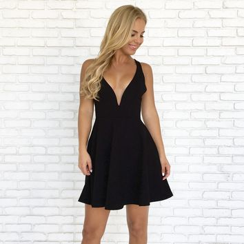 Raise A Toast Skater Dress in Black