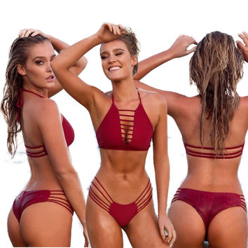 Burgundy Halter Straps Cut Out Two Piece Swimwear