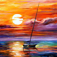 "Far And Away — PALETTE KNIFE Seascape Yacht Oil Painting On Canvas By Leonid Afremov - Size 30"" x 30"""
