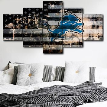 5 Panel NFL Detroit Lions Sports Logo Canvas Printing Painting Living Room Wall Art Deco HD Picture Art Poster